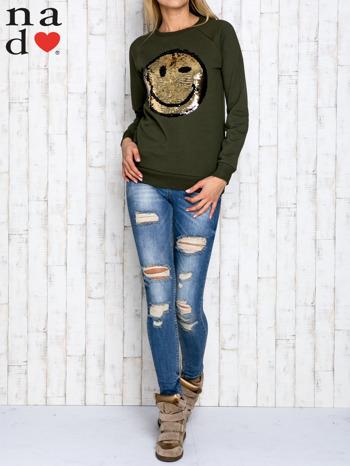 Khaki bluza z dwustronną naszywką z cekinów                                  zdj.                                  4