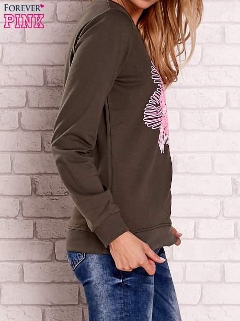 Khaki bluza z kolorowym nadrukiem                                  zdj.                                  3