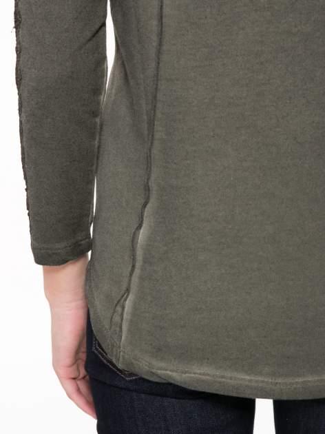 Khaki bluza z koronkowymi aplikacjami                                  zdj.                                  8