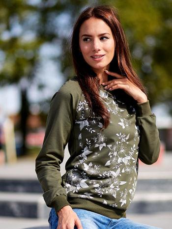 Khaki bluza z kwiatowym nadrukiem                                  zdj.                                  1
