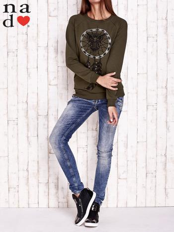 Khaki bluza z motywem sowy i łapacza snów                                  zdj.                                  2