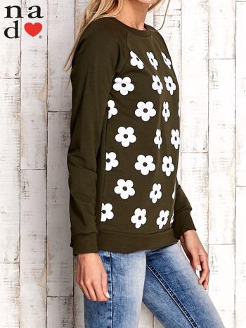 Khaki bluza z nadrukiem kwiatów                                  zdj.                                  3
