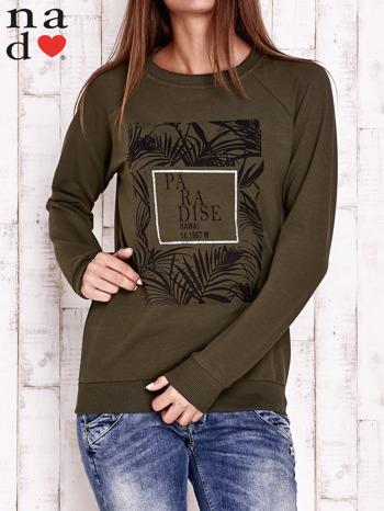 Khaki bluza z napisem PARADISE                                  zdj.                                  2