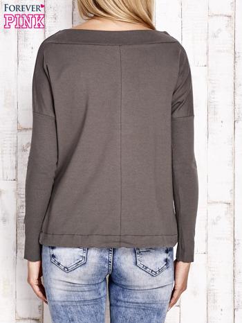 Khaki bluza z szerokim ściągaczem i troczkami                                  zdj.                                  2