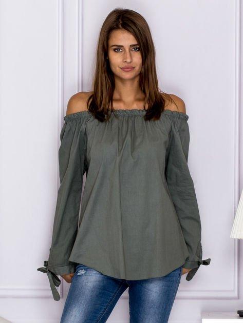 Khaki bluzka z wiązaniami na rękawach                              zdj.                              1