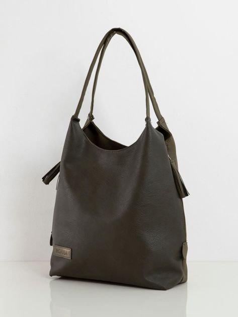 Khaki damska torba ze skóry ekologicznej