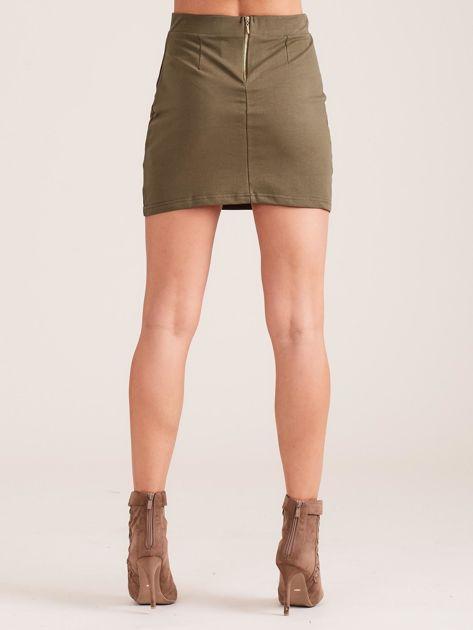 Khaki dresowa spódnica mini                              zdj.                              2