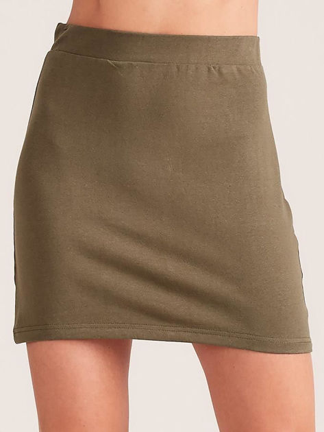 Khaki dresowa spódnica mini                              zdj.                              1