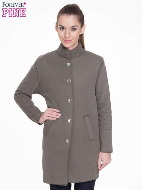 Khaki dresowy płaszcz o kroju oversize                                  zdj.                                  1