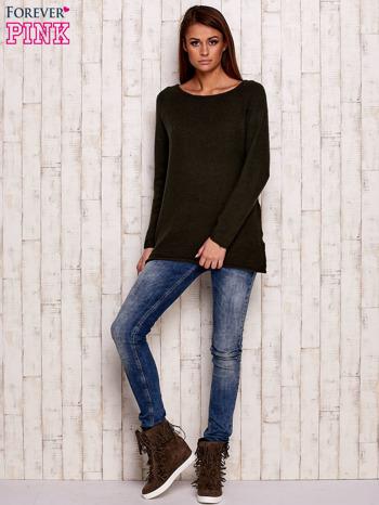 Khaki dzianinowy sweter                                   zdj.                                  2