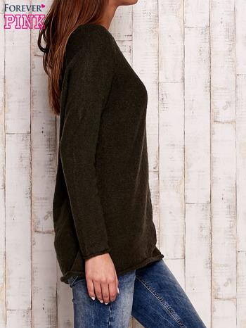 Khaki dzianinowy sweter                                   zdj.                                  3