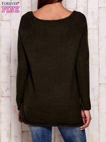 Khaki dzianinowy sweter                                   zdj.                                  4