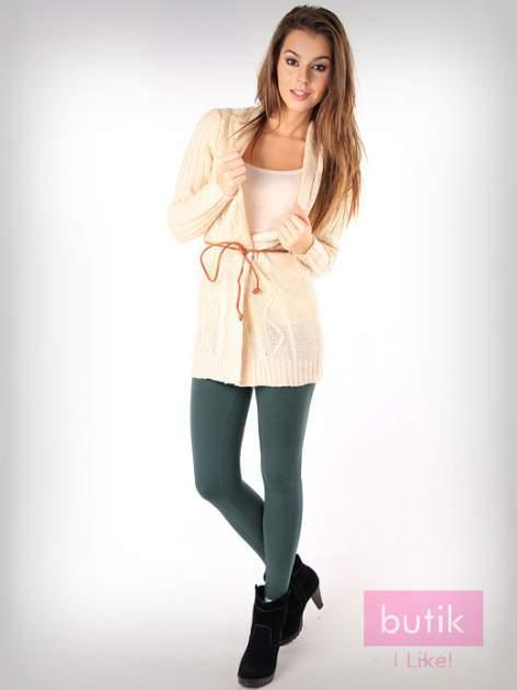 Khaki gładkie legginsy bawełniane