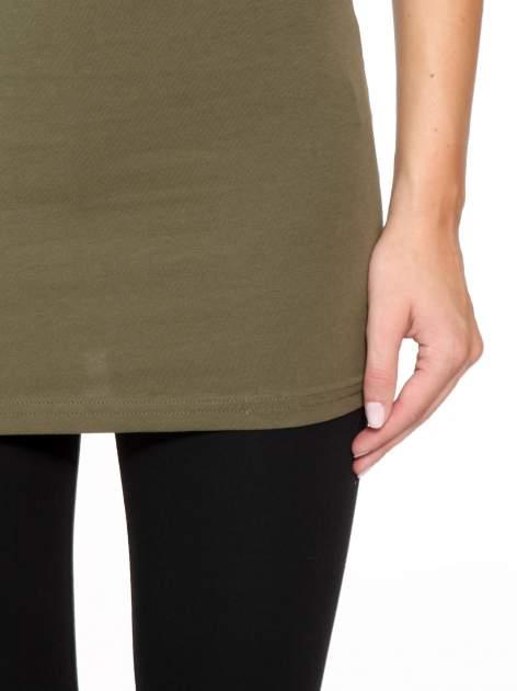 Khaki jednolity top na szerokich ramiączkach                                  zdj.                                  7