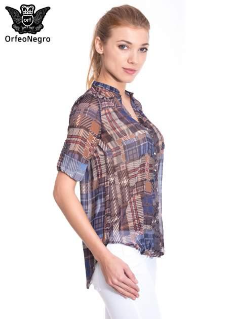 Khaki koszula damska w kratę                                  zdj.                                  5