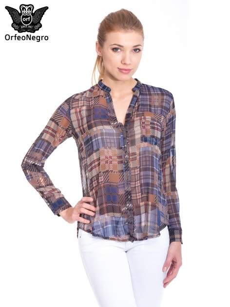Khaki koszula damska w kratę