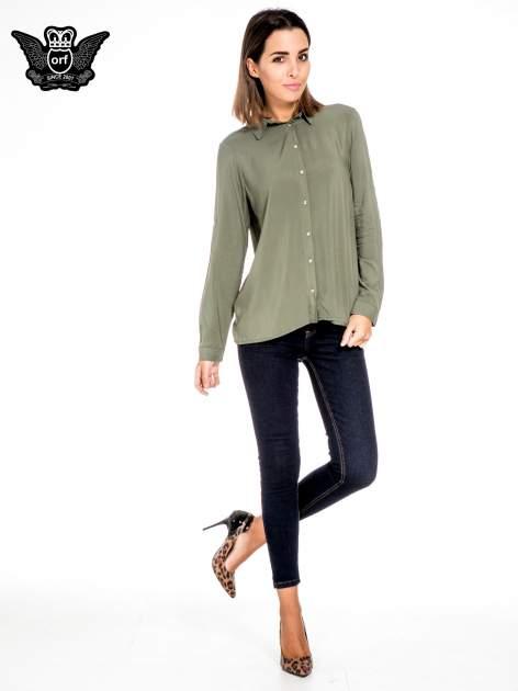 Khaki koszula damska z zamkiem z tyłu                                  zdj.                                  4