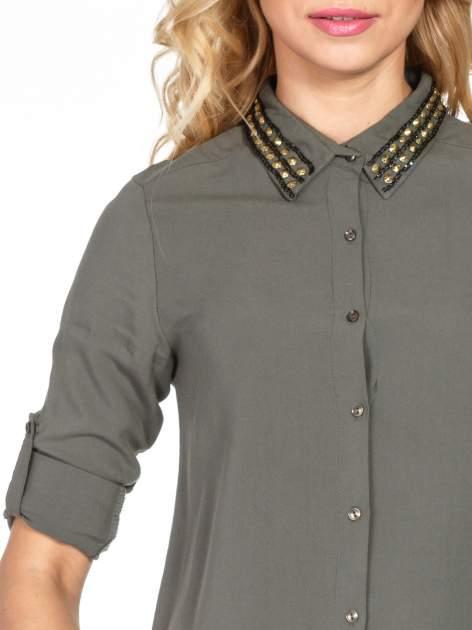 Khaki koszula z kołnierzykiem z dżetami                                  zdj.                                  6