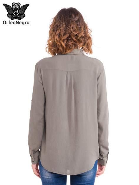 Khaki koszula z kołnierzykiem zdobionym kamieniami                                  zdj.                                  2
