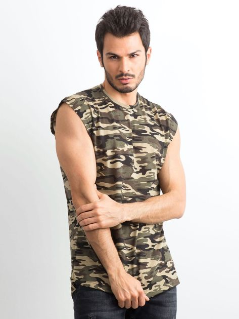 Khaki koszulka męska z nadrukiem moro                              zdj.                              1