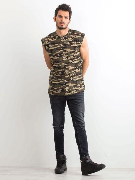 Khaki koszulka męska z nadrukiem moro                              zdj.                              4