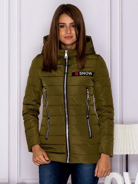 Khaki kurtka przejściowa z błyszczącymi suwakami                              zdj.                              1