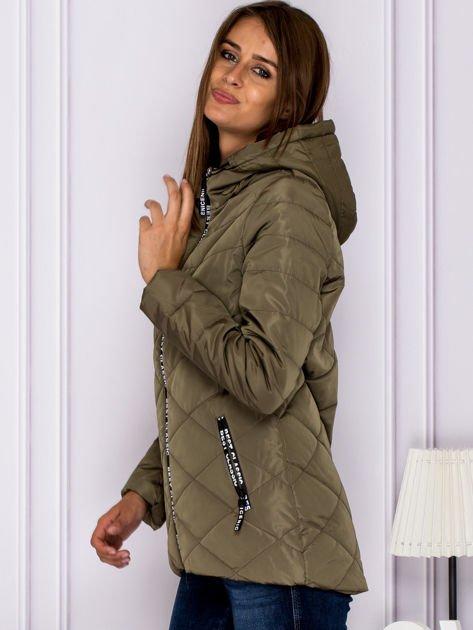 Khaki kurtka przejściowa z ozdobnymi suwakami                              zdj.                              5