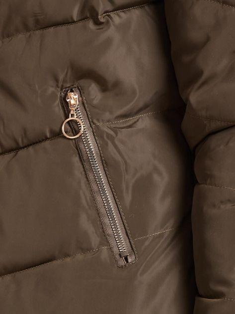 Khaki kurtka zimowa z kapturem i futerkiem                              zdj.                              8