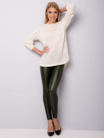 Khaki legginsy z łączonych materiałów                                  zdj.                                  2