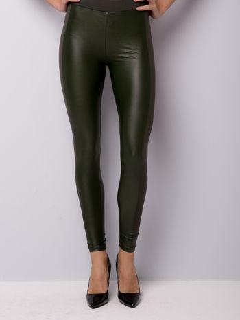Khaki legginsy z łączonych materiałów                                  zdj.                                  3
