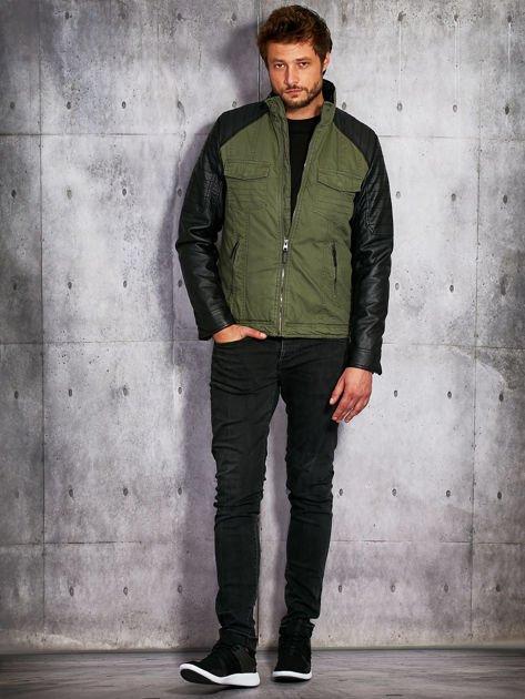 Khaki ocieplana kurtka męska ze skórzanymi rękawami                              zdj.                              3