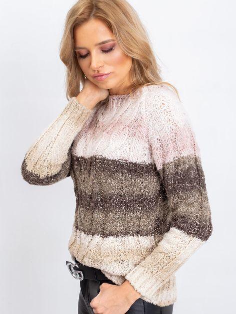 Khaki-różowy sweter Florine                              zdj.                              3