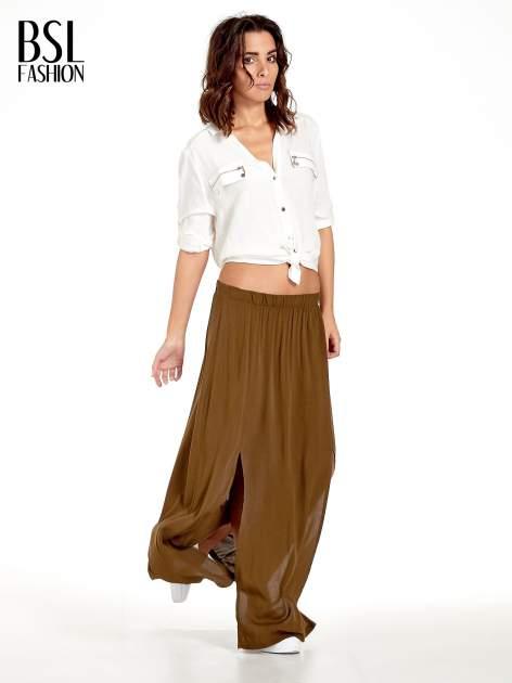 Khaki spódnica maxi z rozporkami z przodu                              zdj.                              8
