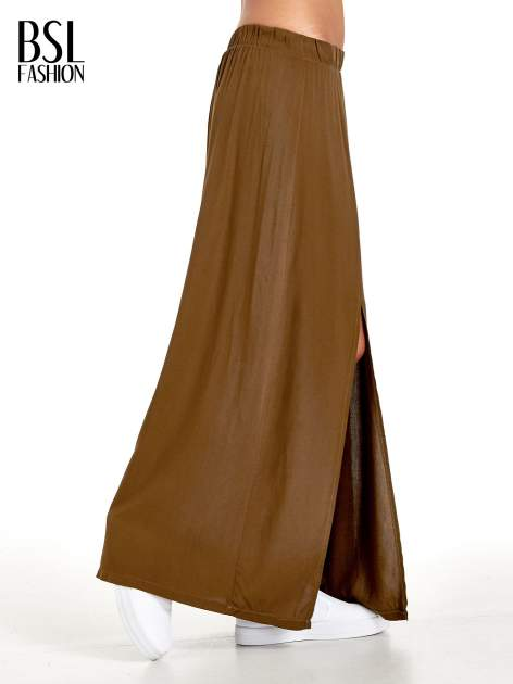 Khaki spódnica maxi z rozporkami z przodu                                  zdj.                                  3