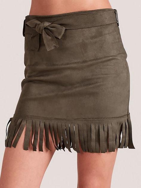 Khaki spódnica z frędzlami                              zdj.                              1