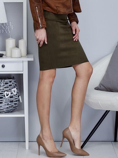 Khaki spódnica z imitacji zamszu                                  zdj.                                  5