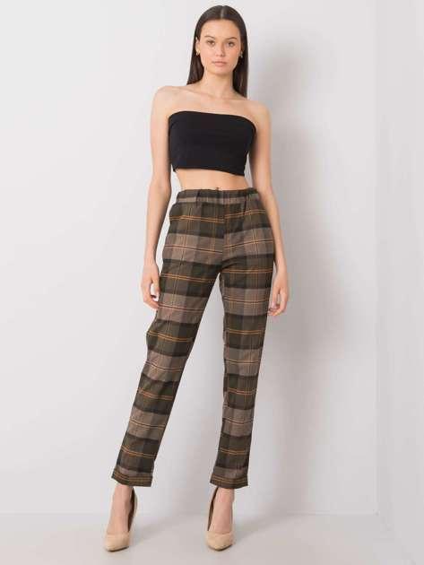 Khaki spodnie w kratę Charleen