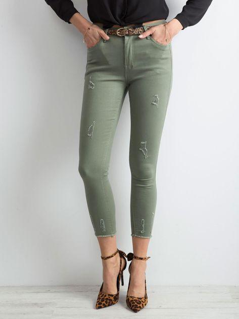 Khaki spodnie z przetarciami                              zdj.                              1