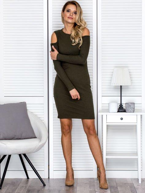 Khaki sukienka cold arms w prążek                              zdj.                              4