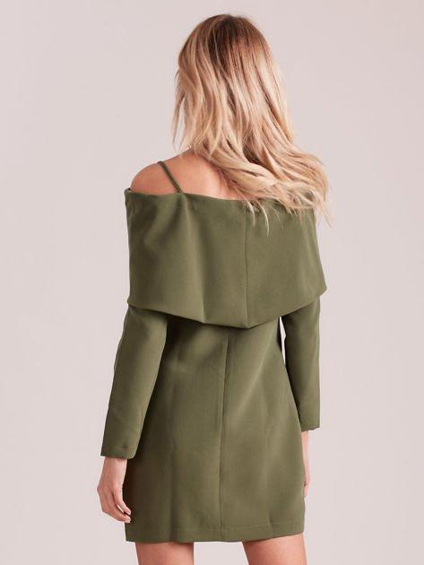 Khaki sukienka cold arms z szeroką falbaną                              zdj.                              2