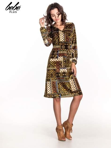 Khaki sukienka midi w patchworkowy wzór                                  zdj.                                  3