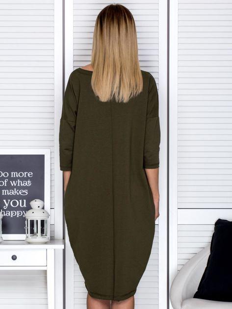 27eb5048be Khaki sukienka oversize z kieszeniami - Sukienka dzianinowa - sklep  eButik.pl