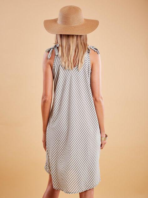 Khaki sukienka w paski wiązana na ramionach                              zdj.                              2