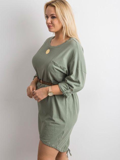 Khaki sukienka z bawełny                              zdj.                              3