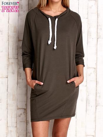 Khaki sukienka z troczkami                              zdj.                              1
