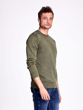 Khaki sweter męski z prążkowanymi wstawkami                                  zdj.                                  3