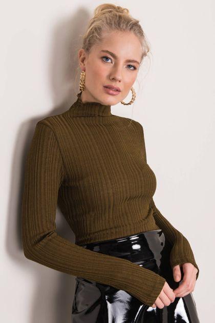 Khaki sweter z golfem BSL
