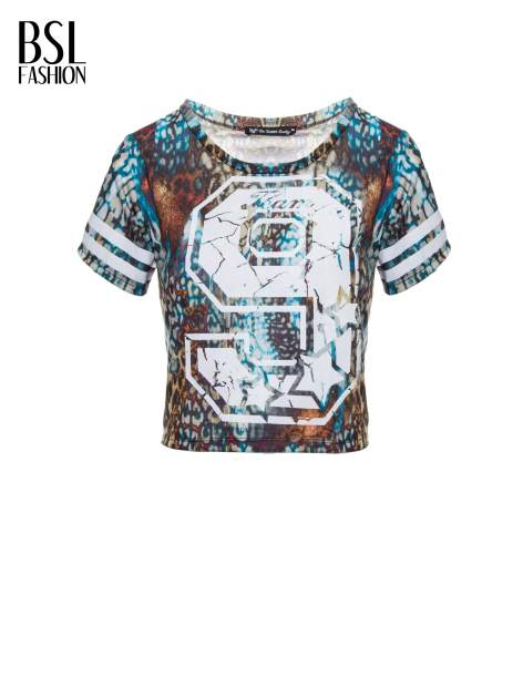 Khaki t-shirt typu crop top z numerkiem                                  zdj.                                  2