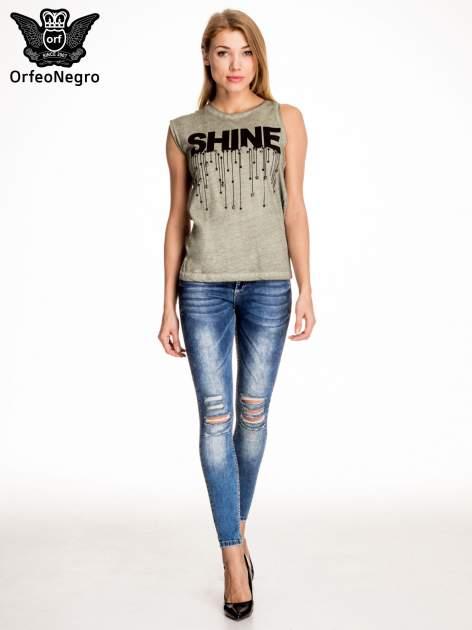 Khaki t-shirt z nadrukiem SHINE z gwiazdkami                                  zdj.                                  5