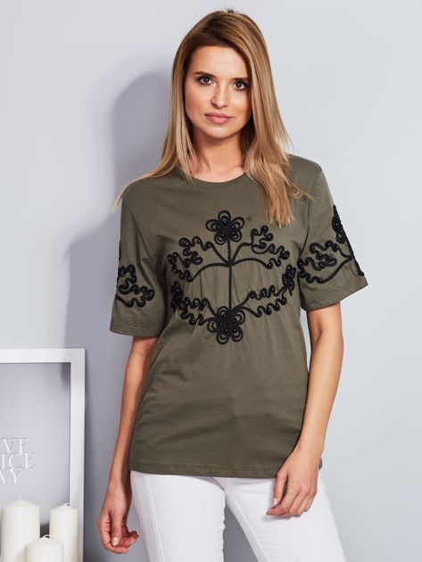 Khaki t-shirt z wypukłym haftowanym wzorem                                  zdj.                                  1